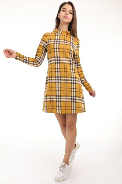 Kadın Hardal Dik Yaka Ekose Desenli Elbise