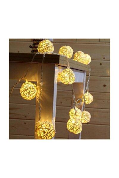 Dekoratif Bambu Hasır Topları Led Işık 10'lu