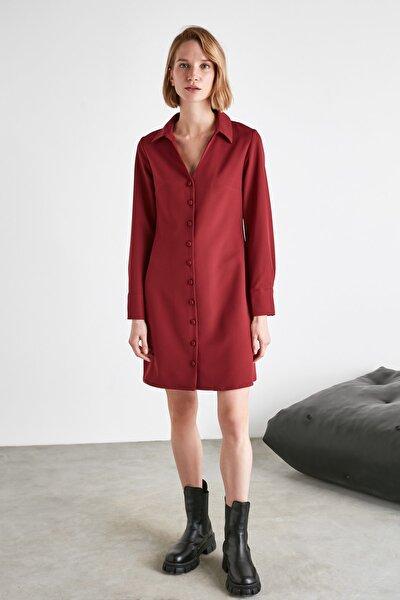 Bordo Gömlek Elbise TWOAW21EL2096