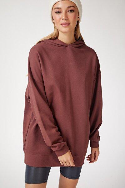 Kadın Çikolata Kapüşonlu Oversize Sweatshirt  FN02305