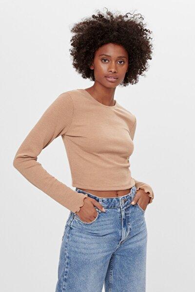 Kadın Deve Tüyü Rengi Zincirli T-Shirt 07378831