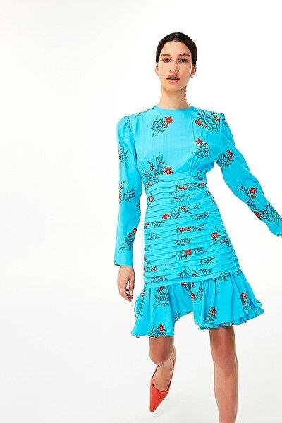Kadın Mavi Çiçek Desen Elbise TW6200002143