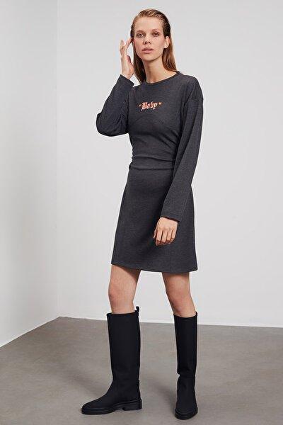 Antrasit Baskılı Örme Elbise TWOAW21EL1751