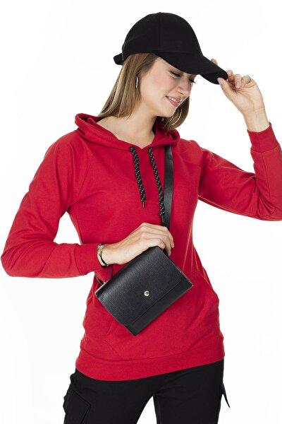 Kadın Kırmızı Cep Detaylı Kapüşonlu Sweatshirt 5413020
