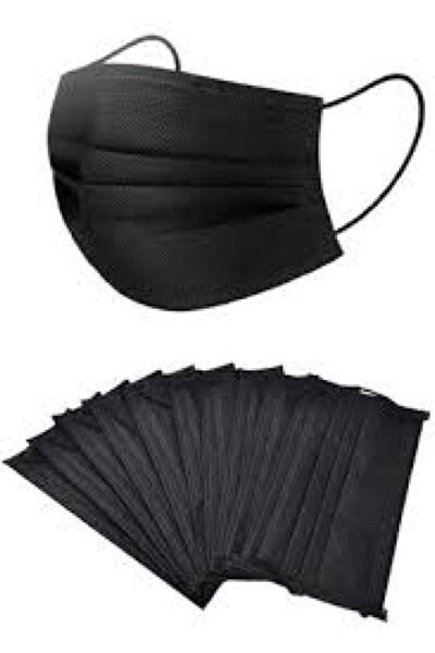 3 Katlı Telli Siyah Maske 50 Li Kutu Burun Lastikli Kokusuz