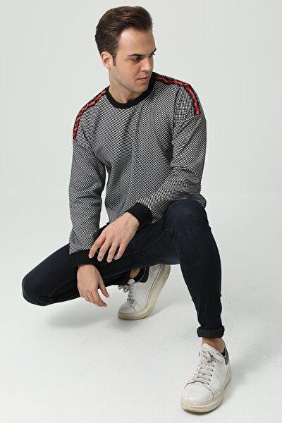 Erkek Siyah Uzun Kollu Bisiklet Yaka Omuz Şeritli Sweatshirt