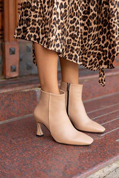 Kadın Bej Topuklu Suni Deri Bot