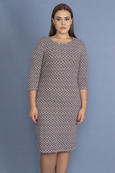 Kadın Bordo Likralı Jakarlı Kumaş Elbise 65N19427