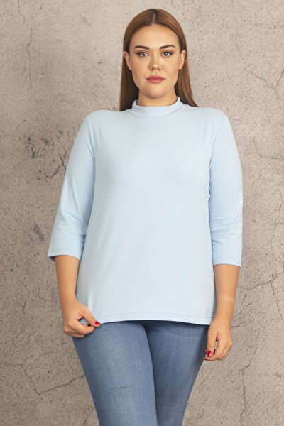 Kadın Mavi Pamuklu Kumaş Balıkçı Yaka Bluz 65N19764