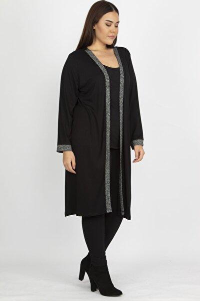 Kadın Siyah Sim Detaylı Uzun Hırka 65N19839