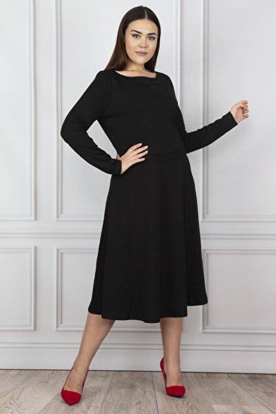 Kadın Siyah Bel Detaylı Elbise 65N19617