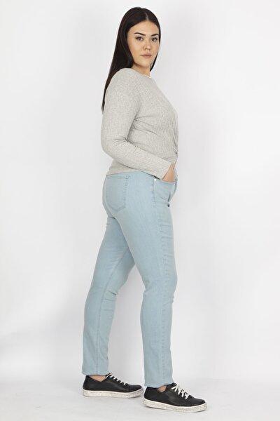 Kadın Mavi Likralı Gabardin Kumaş 5 Cepli Pantolon 65N19451