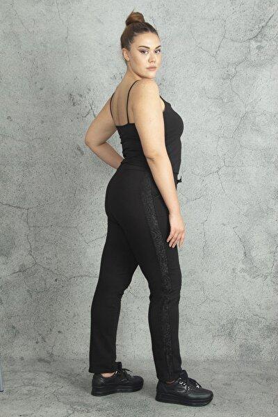 Kadın Siyah Yanları Dantel Detaylı Bel Kısmı Bağcıklı Spor Pantolon 65N19842