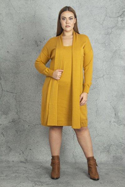 Kadın Hardal Ön Kısmı Elbiseli Hırka 65N19811