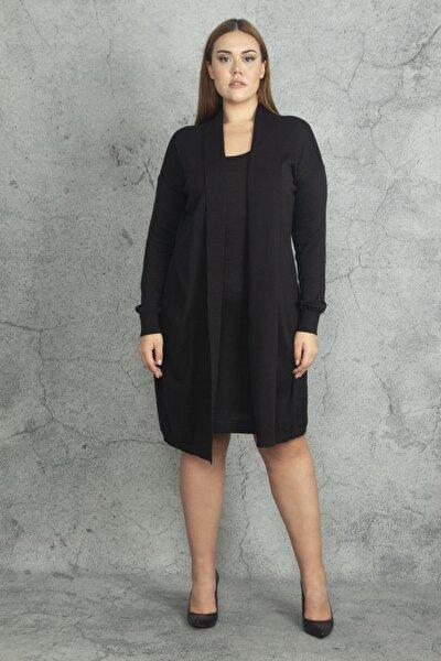 Kadın Siyah Ön Kısmı Elbiseli Hırka 65N19811