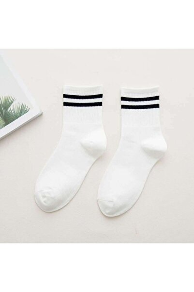 Kadın 6' Lı Beyaz Renkli Çizgili Tenis Çorabı