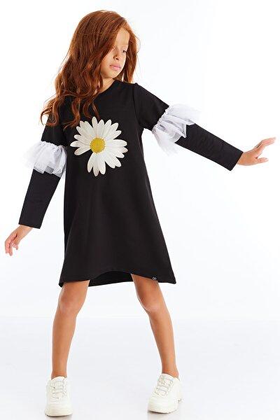 Papatya Baskılı Tütülü Elbise Siyah