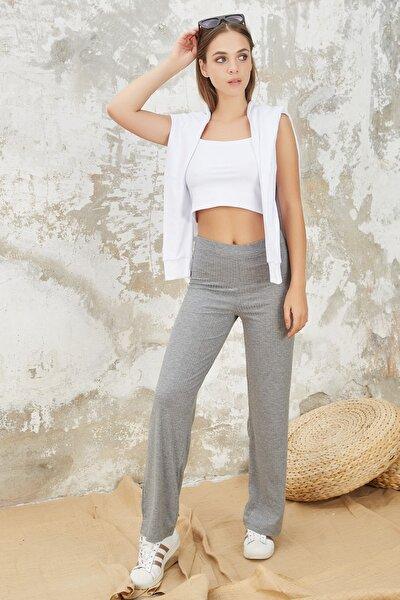 Kadın Gri Beli Lastikli Bol Paça Kaşkorse Rahat Pantolon
