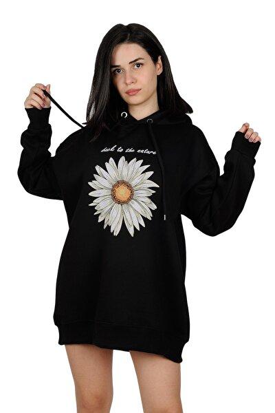 Kadın Siyah Papatya Baskılı Kapüşonlu Sweatshirt