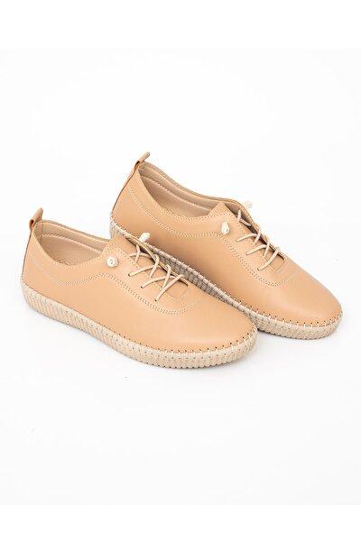 Kadın Bej Günlük Rahat Lastik Bağcıklı Hava Alabilen Ayakkabı