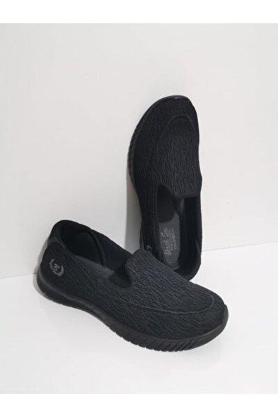 Ortopedik Aqua Babet Günlük Kadın Spor Ayakkabı Sneaker Fileli Siyah 109