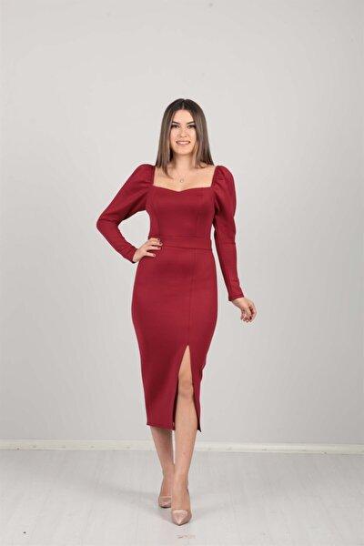 Kadın Bordo Scuba Kumaş Yırtmaç Detaylı Elbise