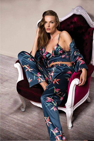 Kadın Lacivert Floral Desenli Sabahlıklı Sapijama Takımı 007