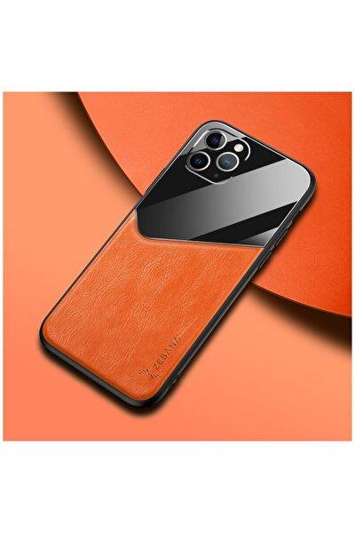 Apple Iphone 11 Pro Max Kılıf Zebana New Fashion Deri Kılıf Turuncu