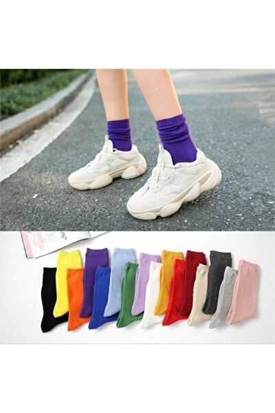 12 Çift Çok Renkli Çizgisiz Pamuklu Kolej Tenis Çorap