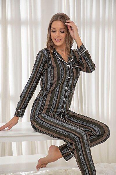 Süet Düğmeli Biyeli Pijama Takım