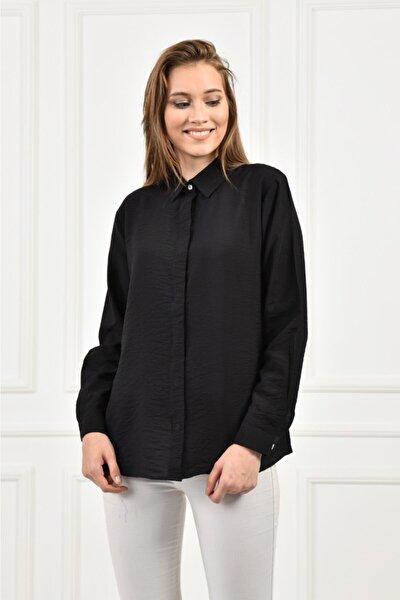 Kadın Siyah Şık Model Büyük ve Normal Beden Gömlek