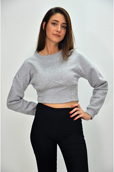 Kadın Gri Korseli Crop Bluz