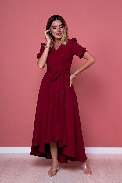 Kadın Bordo Büyük Beden Asimetrik Kesim Elbise
