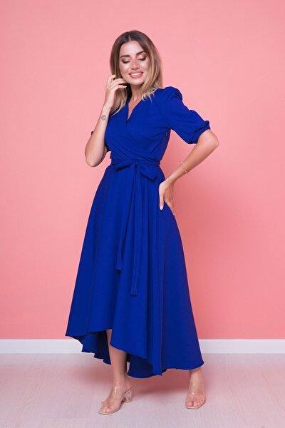 Kadın Sax Mavi Büyük Beden Asimetrik Kesim Elbise