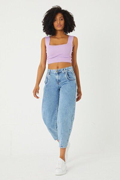 Kadın Mavi  Lastikli Boy Friend Denim Pantolon