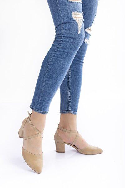 Vizon Süet Topuklu Kadın Klasik Ayakkabı 710cnr