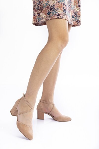 Pudra Süet Topuklu Kadın Klasik Ayakkabı 710cnr