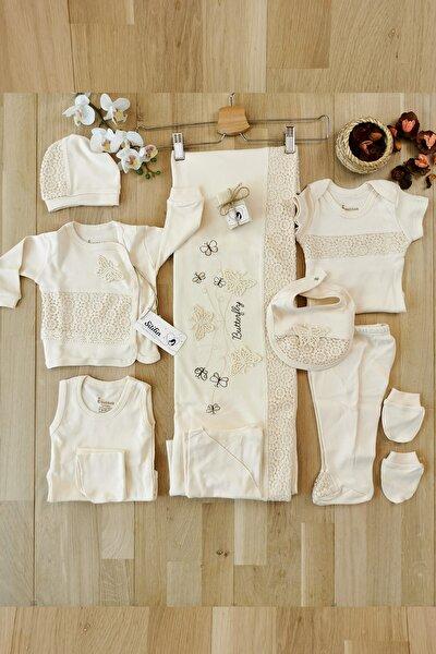 Kız Bebek Bej Butterfly Organik Doğal Defne Sabunlu Set 10 'lu Hastane Çıkışı