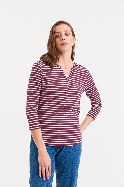 Kadın BORDO Çizgili Yakası Düğmeli Örme Bluz  HN2638