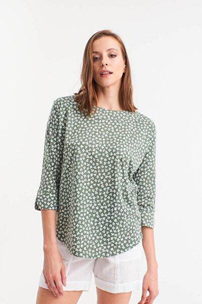 Kadın YEŞİL Yaprak Desenli Örme Bluz  HN2669