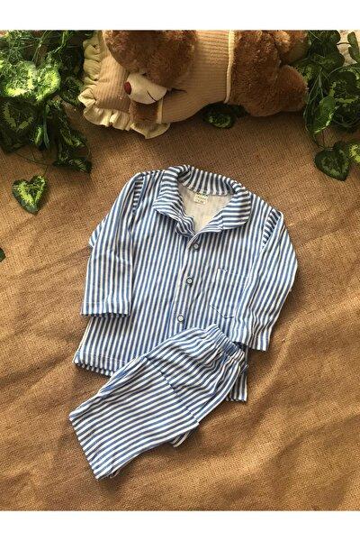 Erkek Çocuk Mavi Önden Düğmeli Çizgili Pijama Takımı