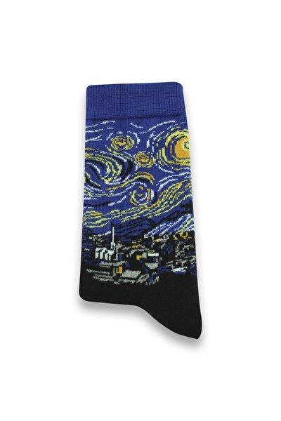 Unisex Mavi Yıldızlı Geceler Desenli Renkli Çorap