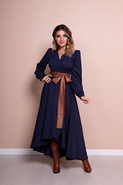 Kadın Lacivert Deri Kemerli Uzun Kol Asimetrik Kesim Elbise