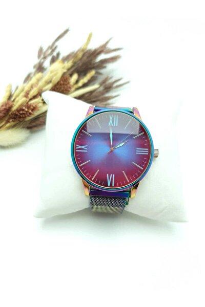 Renkli Camlı Mıknatıs Kordonlu Şık Unısex Saat