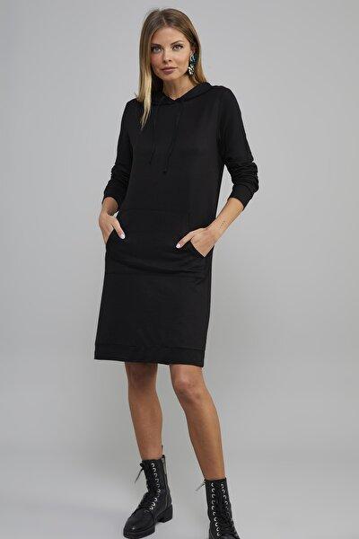 Kadın Siyah Kanguru Cep Kapüşonlu Sweat Elbise Yİ1994