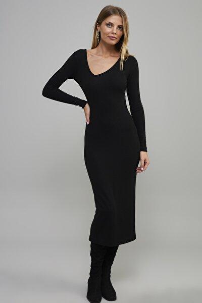 Kadın Siyah Asimetrik Yaka Midi Kaşkorse Elbise EY1122