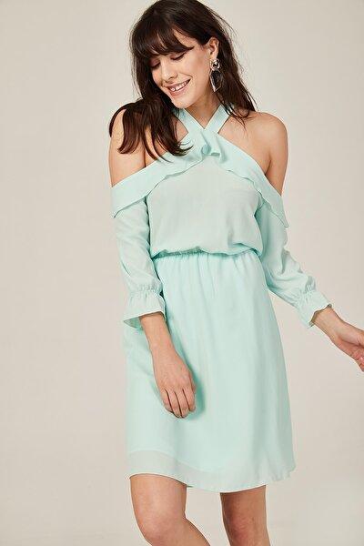 Kadın Mint Yeşili Omuzları Dekolteli Elbise