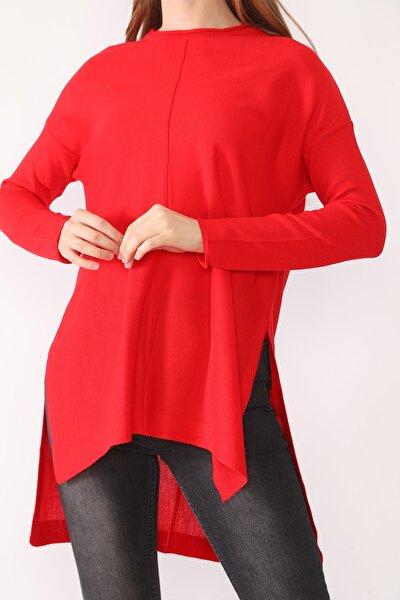 Kadın Kırmızı Yırtmaçlı Triko