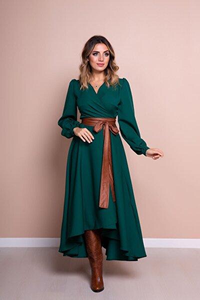 Kadın Taba Deri Kemerli Zümrüt Uzun Kol Asimetrik Kesim Elbise
