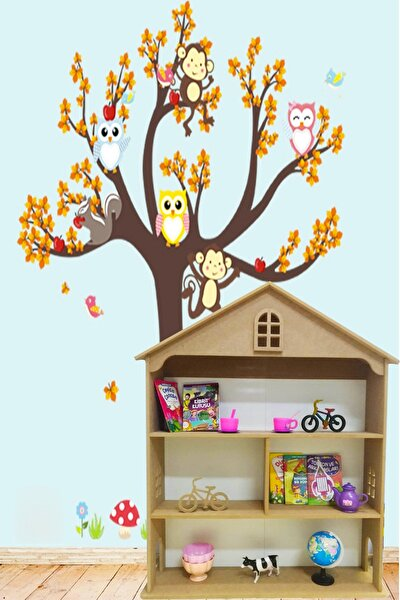 Oyuncak Evi Kitaplık Raf Çocuk Bebek Odası Oyuncak Kutusu Dolabı Dolap Ahşap Montessori